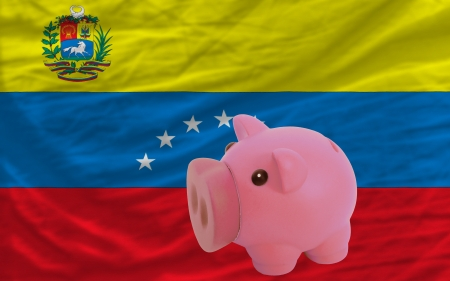 accumulating: Piggy rich bank in front of national flag of venezuela symbolizing saving and accumulating funds as good financial habit
