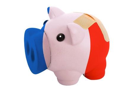 epty poor man piggy rich bank in colorsnational flag of france on white photo