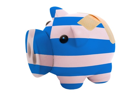 epty poor man piggy rich bank in colorsnational flag of greece on white photo