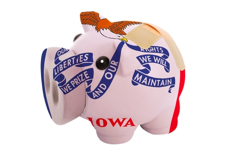 epty poor man piggy rich bank in colorsflag of us state of iowa on white photo