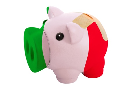 epty poor man piggy rich bank in colorsnational flag of italy on white photo