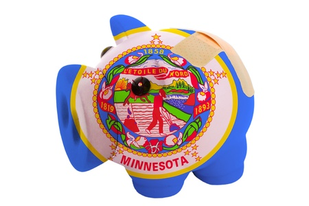 epty poor man piggy rich bank in colorsflag of us state of minnesota on white Stock Photo - 18415570