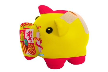 epty poor man piggy rich bank in colors on white photo