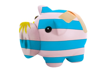 epty poor man piggy rich bank in colorsnational flag of uruguay on white photo