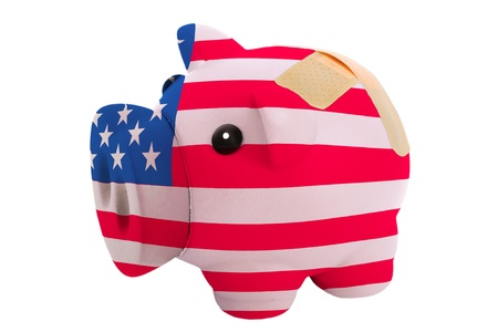 epty poor man piggy rich bank in colorsnational flag of us on white photo