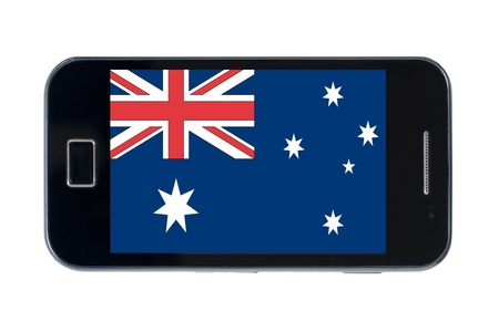 smartphone national flag of australia on wihte Stock Photo - 18414411