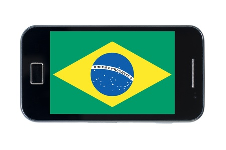 smartphone national flag of brazil on wihte photo
