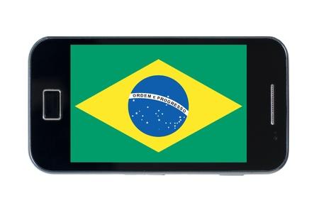 smartphone national flag of brazil on wihte Stock Photo - 18414383
