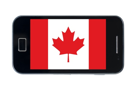 smartphone national flag of canada on wihte photo