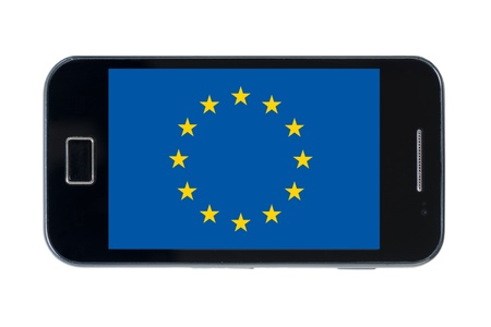 smartphone national flag of europe on wihte Stock Photo - 18414349