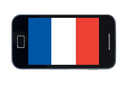 smartphone national flag of france on wihte photo
