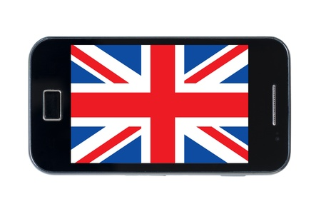 smartphone national flag of uk on wihte photo