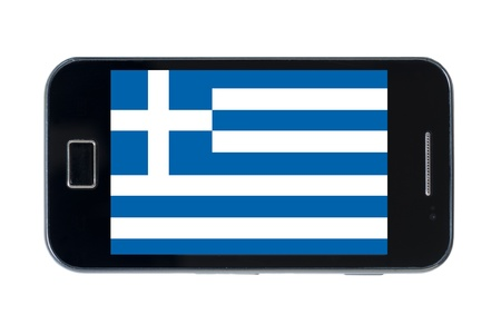 smartphone national flag of greece on wihte photo