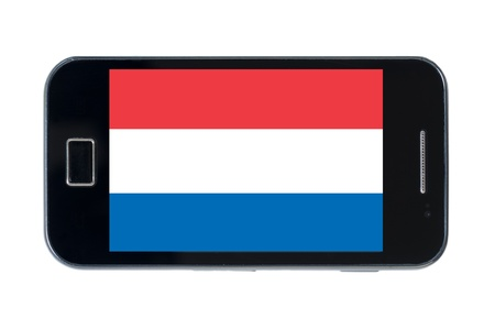 smartphone national flag of netherlands on wihte photo