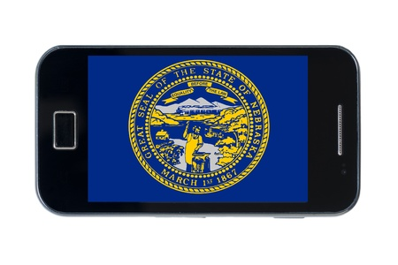 smartphone flag of us state of nebraska on wihte Stock Photo - 18414744