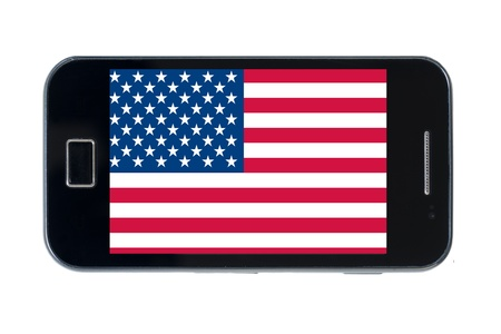 smartphone national flag of us on wihte Stock Photo - 18414471