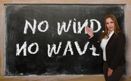 Successful, beautiful and confident woman showing No wind, no waves on blackboard