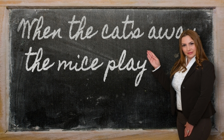 cat s: Successful, beautiful and confident woman showing When the cat s away, the mice play on blackboard Stock Photo