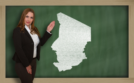 chadian: Successful, beautiful and confident young woman showing map of chad on blackboard for presentation, marketing research and tourist advertising