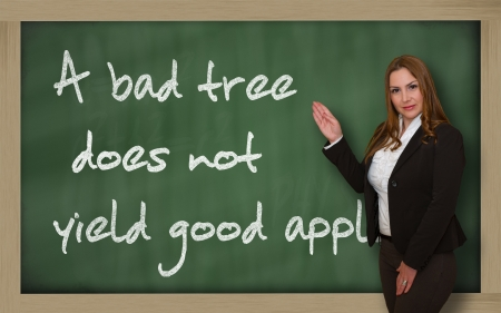 yield: Successful, beautiful and confident woman showing A bad tree does not yield good apples on blackboard