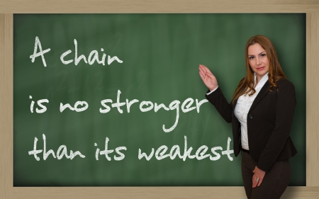 stronger: Successful, beautiful and confident woman showing A chain is no stronger than its weakest link on blackboard Stock Photo