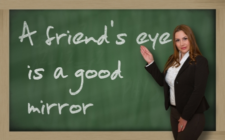 wriiting: Successful, beautiful and confident woman showing A friends eye is a good mirror on blackboard