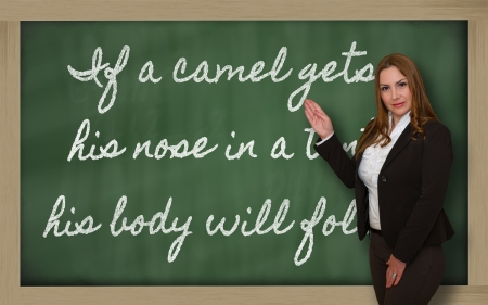 Successful, beautiful and confident woman showing If a camel gets his nose in a tent, his body will on blackboard Stock Photo - 18660121