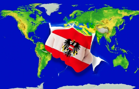 powerfull: Fist in color national flag of austria punching world map as symbol of export, economic growth, power and success