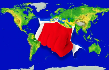 powerfull: Fist in color national flag of bahrain punching world map as symbol of export, economic growth, power and success Stock Photo