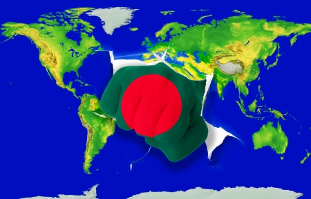 powerfull: Fist in color national flag of bangladesh punching world map as symbol of export, economic growth, power and success