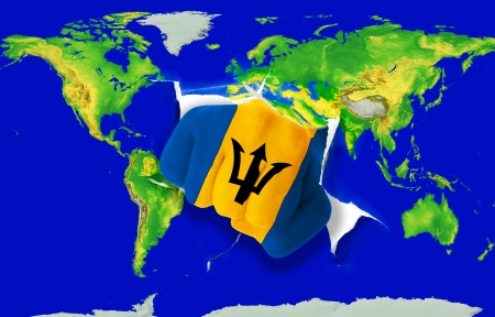 powerfull: Fist in color national flag of barbados punching world map as symbol of export, economic growth, power and success