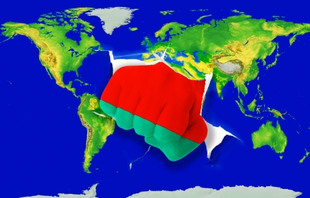 powerfull: Fist in color national flag of belarus punching world map as symbol of export, economic growth, power and success Stock Photo