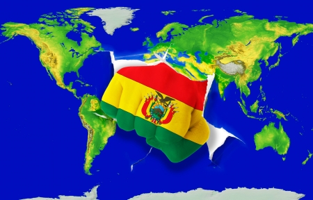 powerfull: Fist in color national flag of bolivia punching world map as symbol of export, economic growth, power and success Stock Photo