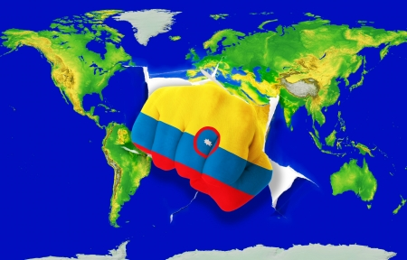 powerfull: Fist in color national flag of columbia punching world map as symbol of export, economic growth, power and success