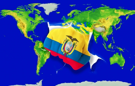 republic of ecuador: Fist in color national flag of ecuador punching world map as symbol of export, economic growth, power and success Stock Photo
