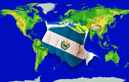 el salvador: Fist in color national flag of el salvador punching world map as symbol of export, economic growth, power and success
