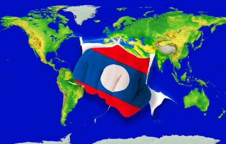 powerfull: Fist in color national flag of laos punching world map as symbol of export, economic growth, power and success