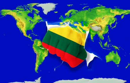 powerfull: Fist in color national flag of lithuania punching world map as symbol of export, economic growth, power and success