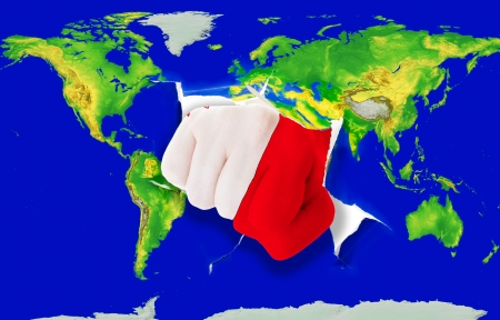 maltese map: Fist in color national flag of malta punching world map as symbol of export, economic growth, power and success Stock Photo