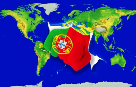 powerfull: Fist in color national flag of portugal punching world map as symbol of export, economic growth, power and success