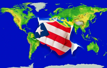 puertorico: Fist in color national flag of puertorico punching world map as symbol of export, economic growth, power and success