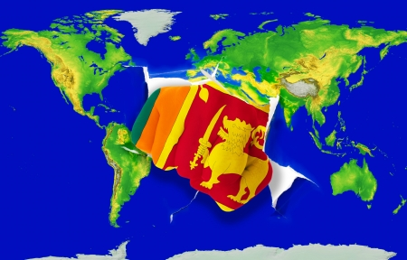srilanka: Fist in color national flag of srilanka punching world map as symbol of export, economic growth, power and success