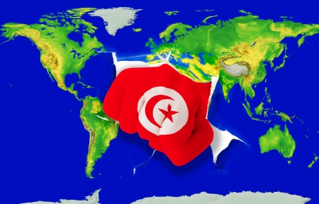 conquest: Fist in color national flag of tunisia punching world map as symbol of export, economic growth, power and success