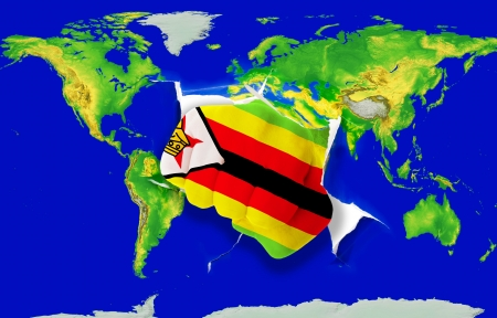 powerfull: Fist in color national flag of zimbabwe punching world map as symbol of export, economic growth, power and success Stock Photo