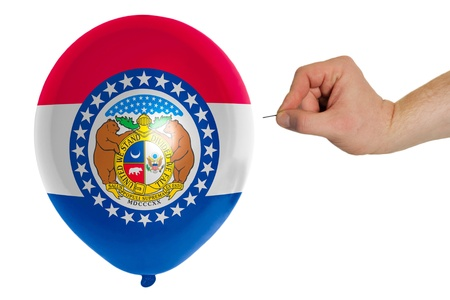exploding balloon colored in flag of us state of missouri 版權商用圖片