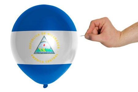 exploding balloon colored in national flag of nicaragua photo