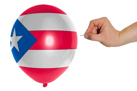 puertorico: exploding balloon colored in national flag of puertorico
