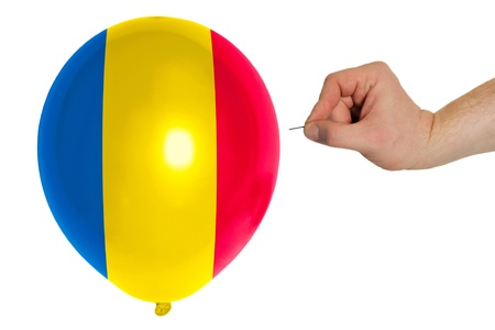 exploding balloon colored in national flag of romania photo