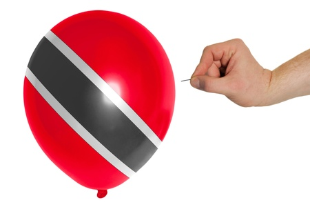 national flag trinidad and tobago: exploding balloon colored in national flag of trinidad tobago Stock Photo