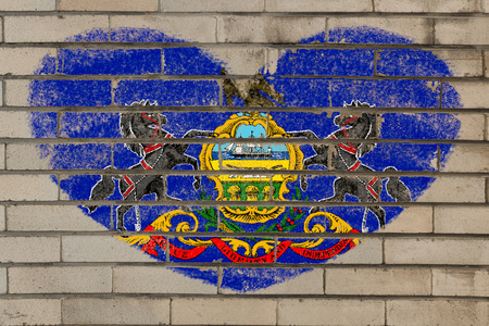 pennsylvania: heart shaped flag in colors of pennsylvania on brick wall